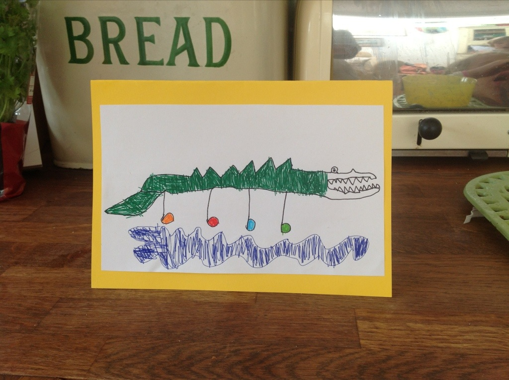 Sam Draws… A Crocodile wearing his dancing shoes.